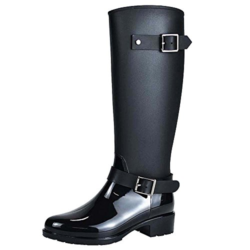 Jamron Women Stylish Snow Rain Festival Tall Wellies Adjustable Buckle Strap Knee High Zip Wellington Boots Black SN02006 US5.5 (Buckle Strap Knee High)