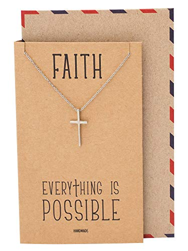Quan Jewelry Faith Cross Pendant Necklace, Religious Jewelry with Inspirational Quote on Brown Greeting Card ()