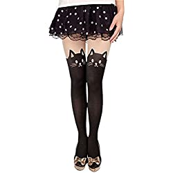 Ladies' Print Sexy Cute Mock CAT and Tail Tights Pantyhose Stockings