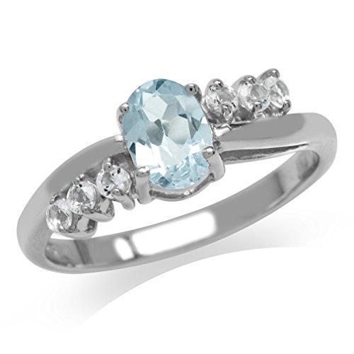 Genuine Blue Topaz 925 Sterling Silver Engagement Ring