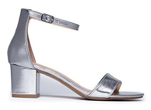 J. Adams Daisy Mid Heel Sandal, Silver PU, 10 B(M) US by J. Adams (Image #2)