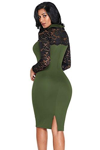 Olive Spitze Hülse Puppe Kragen Bodycon Retro Midi Kleid Größe 3840 ...