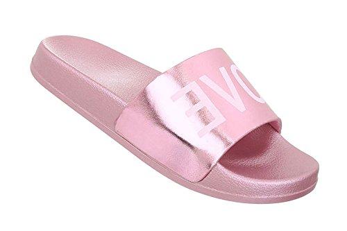 Schuhcity24 Damen Schuhe Sandaletten Pantoletten Badesandale Rosa