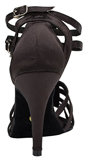 CFP YYC-L055 Womens Latin Tango Ballroom Custom Heel Satin Dance Shoes Black cO7vxTeVMv