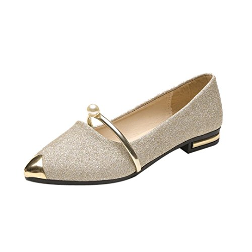 BeautyVan-- Women Casual Pointed Shallow Mouth Shoes Pointed Toe Ladies Shoes Low Heel Flat Shoes Working Flat Shoes (US:7.5, Gold)