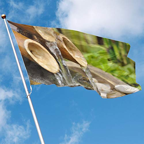 - YUANSHAN Home Garden Flag Bamboo Waterfall Polyester Flag Indoor/Outdoor Wall Banners Decorative Flag 3' X 5'