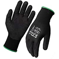 Ronin Stealth Black Nitrile Nylon Glove Small (7) 12Pack
