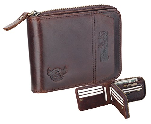 New Christmas Gift Admetus Men Genuine Leather Bifold zipper Wallet With Elegant