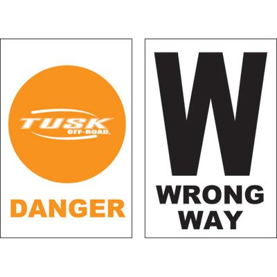 Course Markers - Tusk Course Marker Orange Danger and Wrong Way Sign Pack of 50