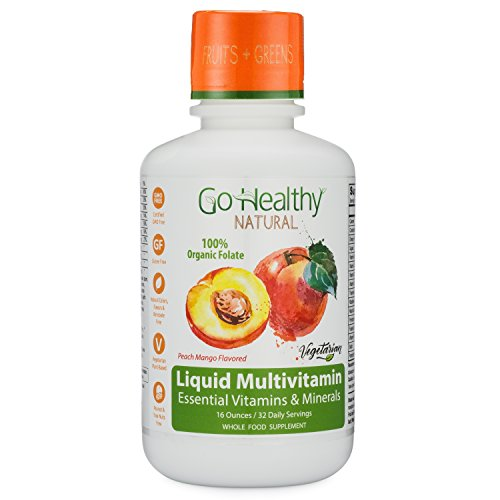 Go Healthy Natural Liquid Multivitamin with Organic Folate, Vegetarian Fruit & Plant-Based Whole Food 32 Servings, Benzoate Free, Non-GMO, Gluten Free (Juice Apple Cane Beauty)