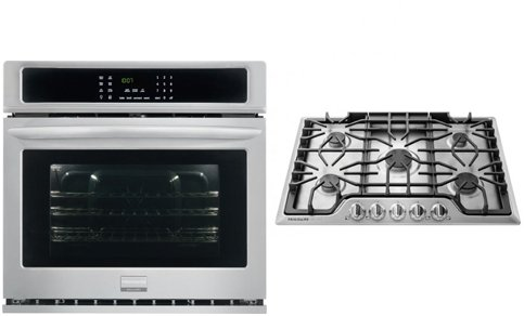 """Frigidaire Gallery Series 2 Piece Kitchen Package With FGGC3047QS 30"""" Gas Sealed Burner Style Cooktop and FGEW3065PF 30"""" Electric Single Wall Oven In Stainless Steel"""