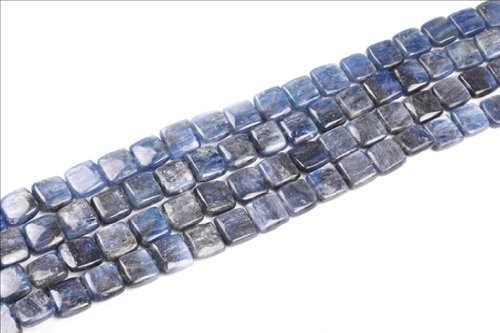 12mm Square Blue Kyanite Gemstone Beads Strand 15 Inches Jewelry Making Beads