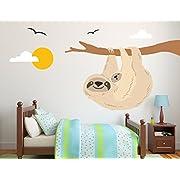 Sloth with Branch, Birds, Kids Baby Nursery Wall Decal, Nursery Decoration