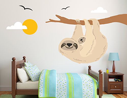 E-Graphic Design Inc Sloth With Branch, Birds, Kids Baby Nursery Wall Decal, Nursery Decoration -