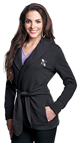 Women's 57% Ctn/38% Poly/5% Spandex Knit Robe Jacket with faux belt, Charcoal X-Small