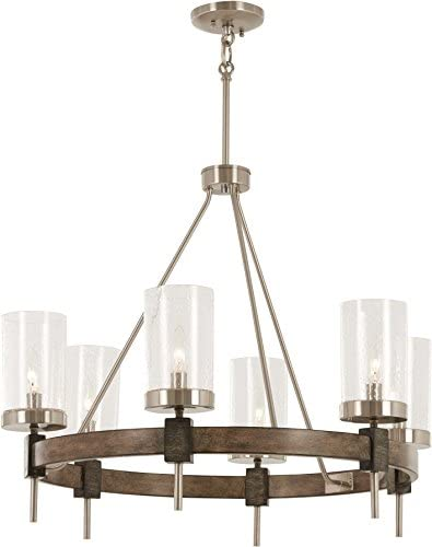 Minka Lavery Chandelier Pendant Lighting 4636-106 Bridlewood Dining Room Fixture, 6-Light 360 Watts, Stone Grey