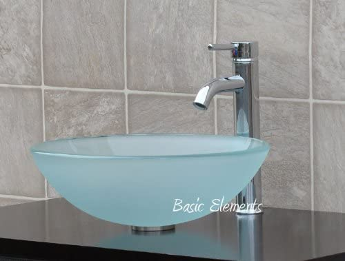 Bathroom Frosted round Glass Vessel Sink Chrome Faucet Combo Pop Up Drain Mounting Ring R12FC3