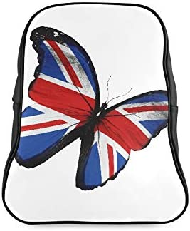English Flag Butterfly Flying Isolated On Casual Bag Women Fashion Bag Fashion School Bag Print Zipper Students Unisex Adult Teens Gift