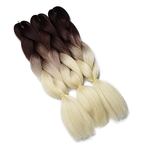 Synthetic Yaki Straight Ombre Jumbo Braiding Hair Extensions High Temperature Fiber Crochet Braids Hairstyles (Brown Blonde)