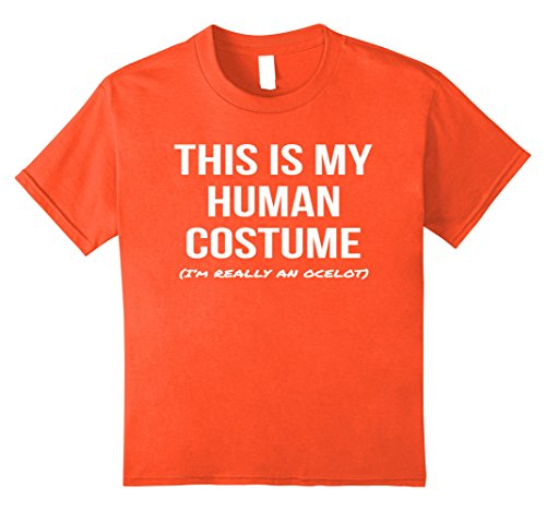 Kids Human Costume I'm an Ocelot Shirt Halloween Cosplay Tee 12 Orange