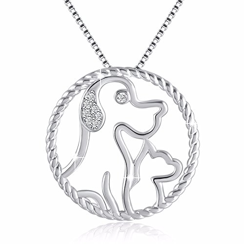 Angemiel I Love My Pet 925 Silver Necklace Women Vintage Pendant, Italy Box Chain 18