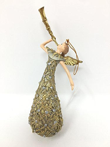 Dekorasyon - Lace Filigree Angel w/Trumpet Ornament (Moonlight) - BD-0B872-ML