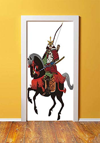 Japanese 3D Door Sticker Wall Decals Mural Wallpaper,Shogun Wearing Armour with Arrow on Prancing Horse Courage Warfare Illustration,DIY Art Home Decor Poster Decoration 30.3x78.4633,Brown Green