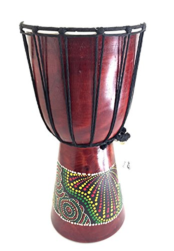 - Djembe Drum African Bongo Drum Solid Wood & Hand Painted LARGE SIZE 16