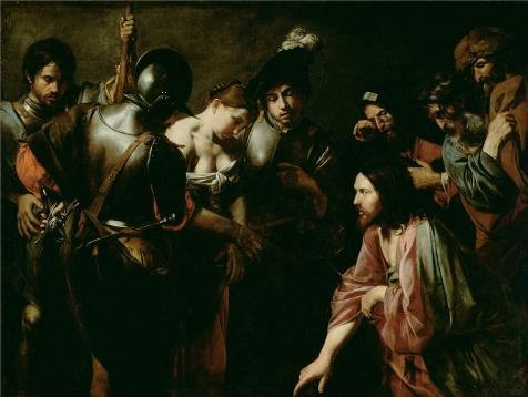 Adulteress Costume (The High Quality Polyster Canvas Of Oil Painting 'Christ And The Adulteress, 1620s By Valentin De Boulogne' ,size: 24x32 Inch / 61x81 Cm ,this Vivid Art Decorative Canvas Prints Is Fit For Garage Decor And Home Decor And Gifts)