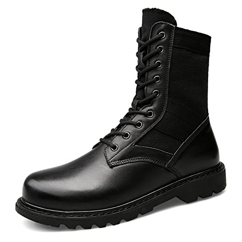OUYAJI Genuine Leather Lace Up Military Motorcycle Plus Plush Warm High Top Combat Boots Winter Big Size Outdoor Snow Shoes Black 46
