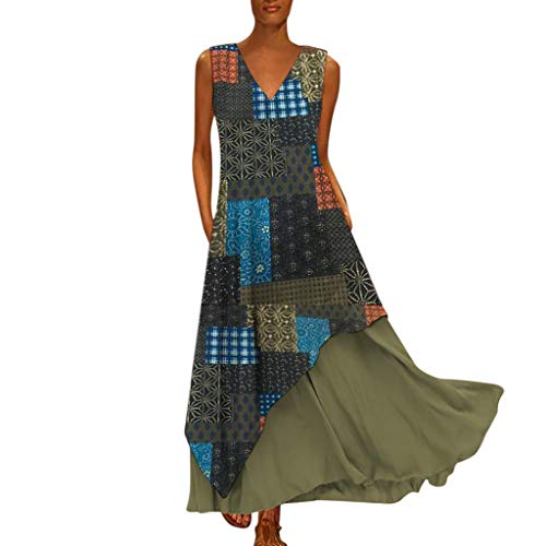 Dresses for Women Party Night Sales NRUTUP Sleeveless Splicing Long Dress Vintage Bohemian Dresses for Wedding Guest -