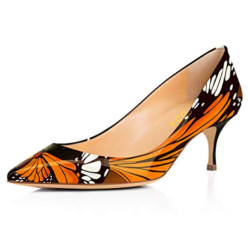 YCG Women's Low Kitten Heels Pumps Orange Butterfly Tatoo Printing Wedding&Party Pleather Comfort Slip on Shoes US 13 ()