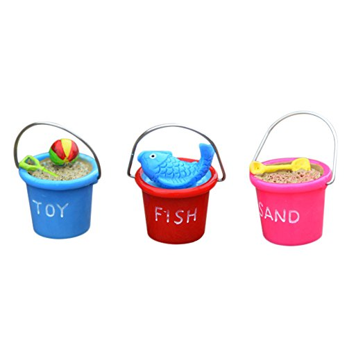 Outflower 3pcs Resin Beach Bucket Moss Micro Landscape Decoration Sea View Decoration DIY Assembly Decoration Accessories Material