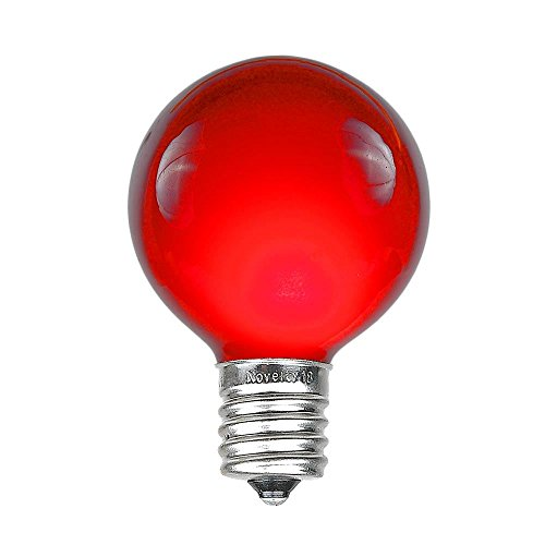 Novelty Lights 25 Pack G50 Outdoor Patio Globe Replacement Bulbs, Red, E17/C9 Base, 7 Watt