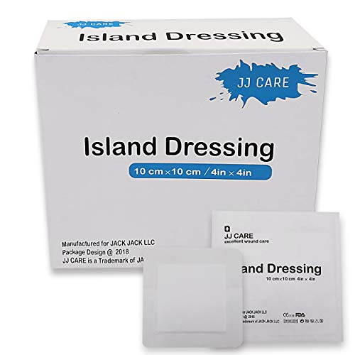 - [Pack of 25] 4x4 inches Adhesive Island Dressing - Sterile Bordered Gauze Pads - Adhesive Wound Dressing - Latex Free, Individually Wrapped Island Gauze Dressing