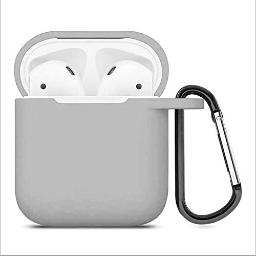 ZALU Compatible for AirPods Case with Keychain, Shockproof Protective Premium Silicone Cover Skin for AirPods Charging Case 2 & 1 (AirPods 1, Grey)