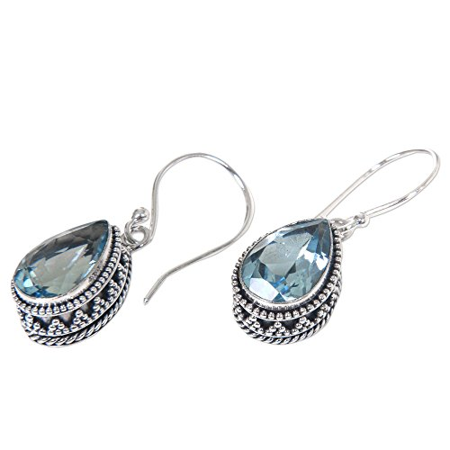 NOVICA .925 Sterling Silver and Blue Topaz Pear-Shaped Dangle Earrings, Sparkling Dew'