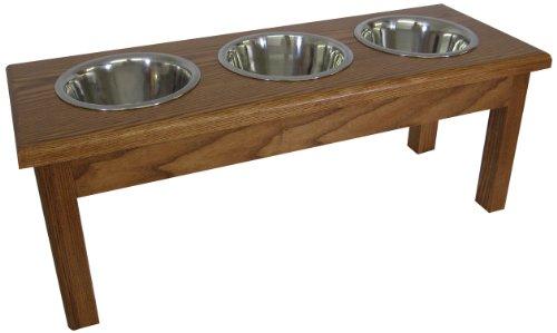 Classic Pet Beds 3-Bowl Medium Traditional Style 2-Quart Ash Pet Diner, Medium Walnut For Sale