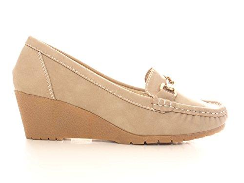 Damen Keilabsatz Schuhe Pumps Khaki # 55541