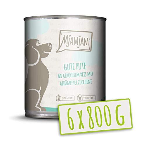 MjAMjAM – Premium Nassfutter für Hunde – gute Pute an gekochtem Reis mit gedämpfter Zucchini, 6er Pack (6 x 800 g…