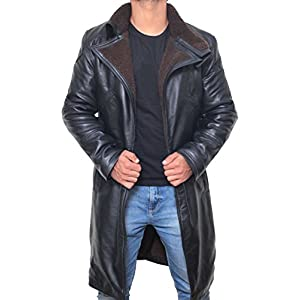 Black Leather Coat Men Jacket - Blade Runner Leather Fur Coat Men Outerwear (XS) [RL-BLRN-BL-XS]