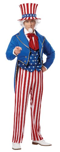 Operation Man Halloween Costume (California Costumes Men's Uncle Sam Adult, Red/Blue/White,)