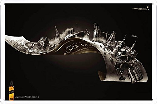 """Tin Sign Metal Poster Plate (8""""x12"""") of Johnnie Walker Whiskey Black Label by Food & Beverage Decor Sign"""