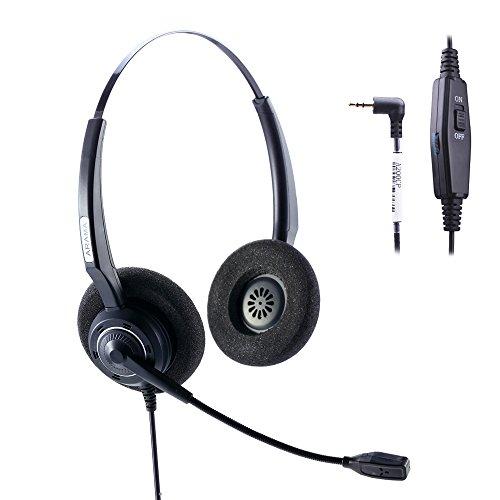 Arama 2.5mm Phone Headset w/Noise Canceling Boom Mic In-line Volume Mute-Switch for Panasonic Cordless Phones and Grandstream Polycom Cisco Linksys SPA Panasonic Gigaset (2.5mm-Black-Binaural)