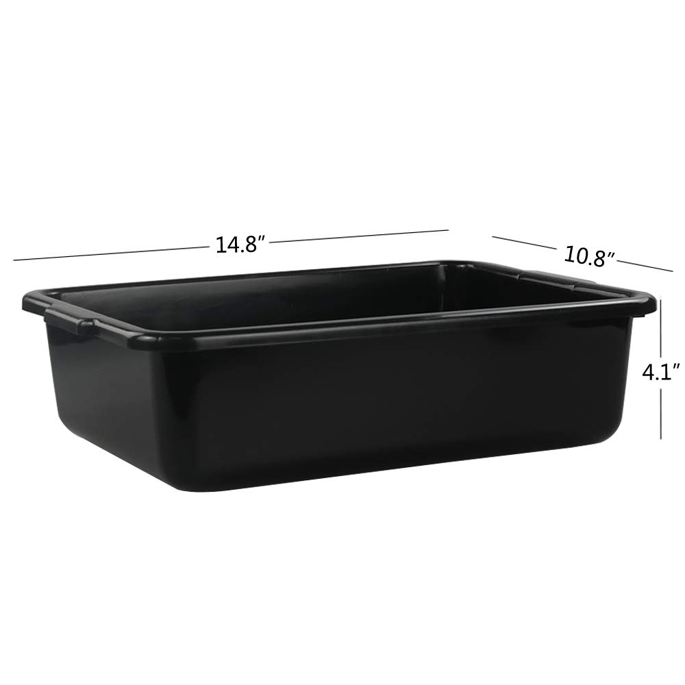 "12 Black Bus Tub Box 20/"" x 15/"" x 7/"" Polypropylene Free Shipping USA Only 48"