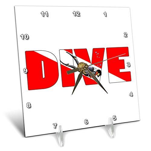 3dRose Macdonald Creative Studios – Scuba - Scuba Diver with Dive in The red and White Dive Flag Colors. - 6x6 Desk Clock (dc_299200_1) -
