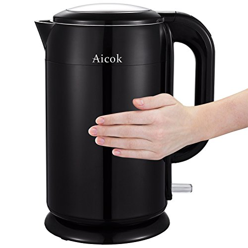 Aicok Stainless Steel Double Wall Cool Touch Cordless - Electric Kettle Small Size
