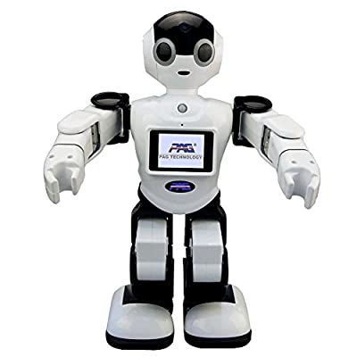 Voice Control Intelligent Humanoid Robotic Multifunctional Robot Support Early Education Flexble Motion Monitoring Home Against Theft PC/App Motion Control Remote etc(Black)