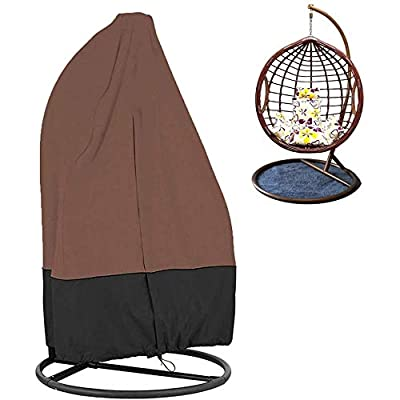 SYCYKA Patio Hanging Chair Cover 210D Oxford Fabric Waterproof Veranda Patio Cocoon Egg Chair Cover (Coffee Black) : Garden & Outdoor