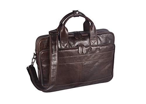 Men's Genuine Leather Messenger Bag Vintage Attache Case Shoulder Crossbody Business Briefcases Fit 14'' Laptop, Coffee by Laura Wales (Image #3)
